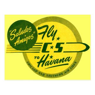 Vuelo del vintage a La Habana Tarjetas Postales