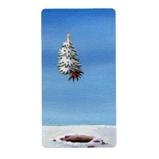 Vuelo desarraigado árbol de navidad del viaje del etiquetas de envío
