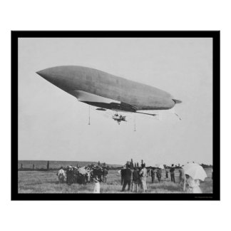 Vuelo dirigible francés a Chalais-Mendon 1907 Poster