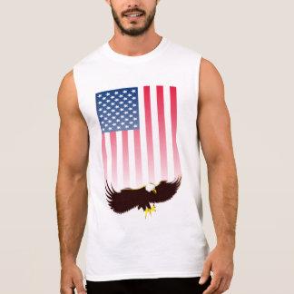 Vuelo Eagle y bandera americana Playera Sin Mangas