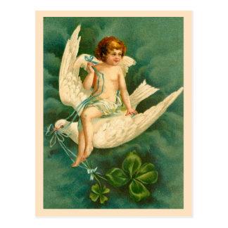 Vuelo en una paloma - postal del ángel del día de