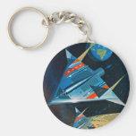 Vuelo espacial retro de la NASA de Sci Fi del vint Llavero Redondo Tipo Pin