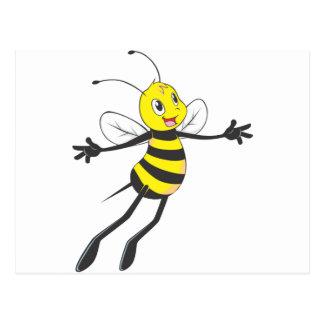 Vuelo feliz de la abeja tarjetas postales