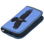 Vuelo negro del cuervo en foto del cielo azul planificador