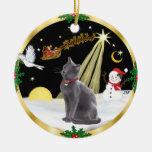 Vuelo nocturno - gato azul ruso ornamentos de reyes magos