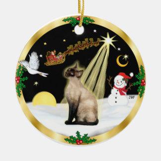 Vuelo nocturno - gato siamés del punto del sello ornamento de reyes magos
