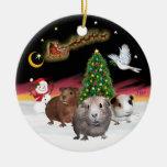 Vuelo nocturno - tres conejillos de Indias (Cavies Adorno De Navidad