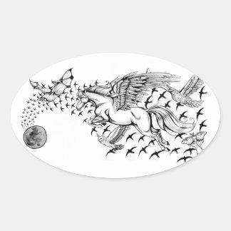 Vuelo nocturno - unicornio y pegatina del pájaro
