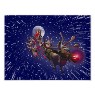 Vuelo Papá Noel y Rudolph reno sospechado rojo Impresiones