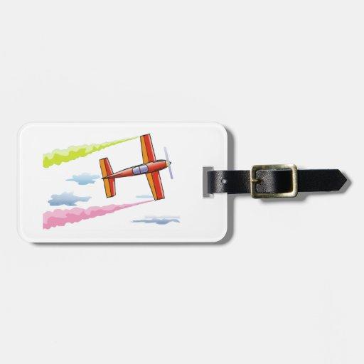 Vuelo plano del cielo etiqueta de maleta