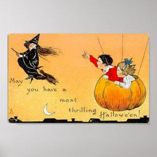 Vuelo Pumpkn y bruja Póster