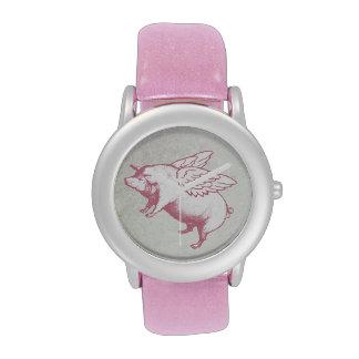 Vuelo rosado con alas del cerdo - reloj adaptable