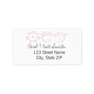 Vuelo rosado de Piggies Etiqueta De Dirección