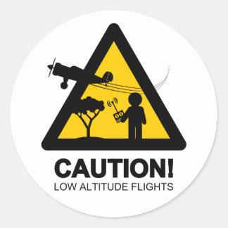 Vuelos de la baja altitud pegatina redonda