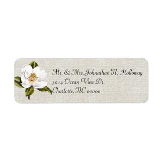 Vuelta blanca elegante de la magnolia y del lino etiqueta de remite