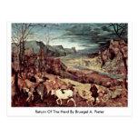 Vuelta de la manada por Bruegel A. Pieter Tarjeta Postal