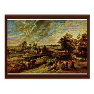 Vuelta de los campesinos de The Field de Rubens Tarjetas Postales
