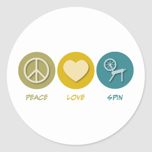 Vuelta del amor de la paz pegatina redonda
