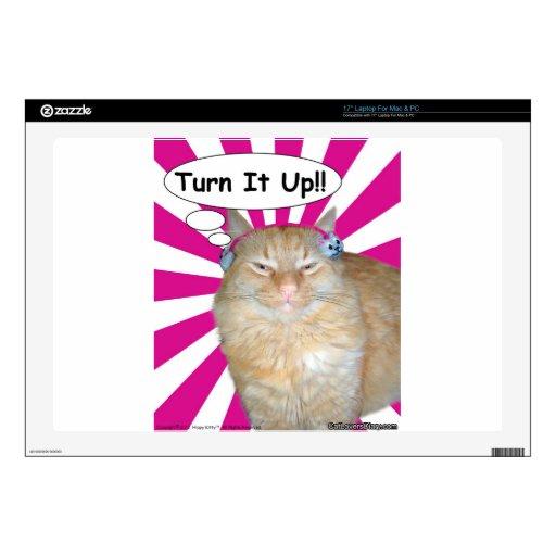 ¡Vuelta del gatito del hippy él para arriba!! 43,2cm Portátil Calcomanía