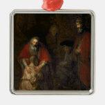 Vuelta del hijo despilfarrador, c.1668-69 adorno navideño cuadrado de metal