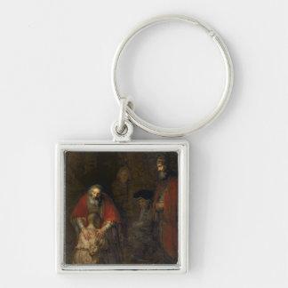 Vuelta del hijo despilfarrador, c.1668-69 llavero cuadrado plateado