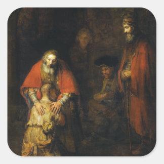 Vuelta del hijo despilfarrador de Rembrandt Pegatina Cuadrada