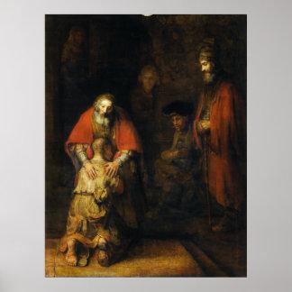 Vuelta del hijo despilfarrador de Rembrandt Póster