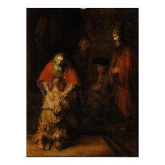 Vuelta del hijo despilfarrador de Rembrandt Van Perfect Poster