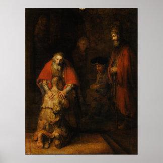 Vuelta del hijo despilfarrador de Rembrandt Van Póster