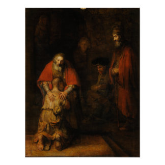 Vuelta del hijo despilfarrador de Rembrandt Van Ri Poster