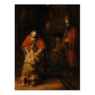 Vuelta del hijo despilfarrador de Rembrandt Van Tarjetas Postales