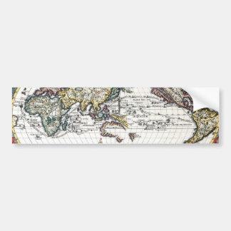 Vuelta del mapa del mundo del siglo XVIII Pegatina Para Auto