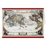 Vuelta del mapa del mundo del siglo XVIII Tarjeton