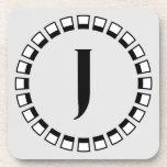 Vuelta del siglo, monograma J del vintage Posavasos