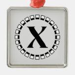 Vuelta del siglo, monograma X del vintage Ornaments Para Arbol De Navidad