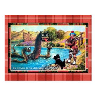 Vuelta divertida del vintage del monstruo de Loch  Tarjetas Postales