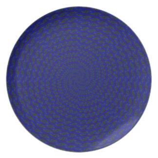 Vuelta en azul plato de comida