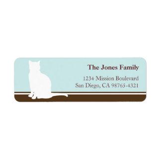 Vuelta o envío felina del azul de la silueta del m etiqueta de remite