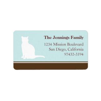 Vuelta o envío felina del azul de la silueta del m etiquetas de dirección
