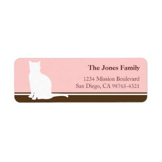 Vuelta o envío felina del rosa de la silueta del m etiqueta de remite