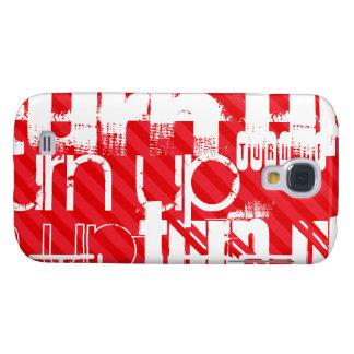 Vuelta para arriba; Rayas del rojo del escarlata Funda Samsung S4