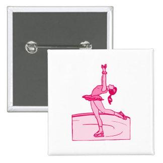 Vuelta rosada del patinador pin cuadrada 5 cm
