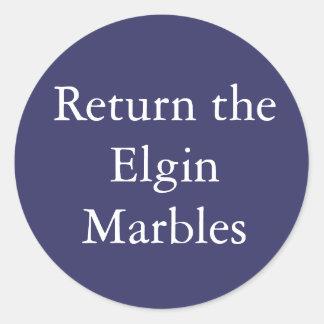 Vuelva al pegatina de los mármoles de Elgin