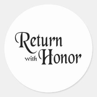 Vuelva con honor etiqueta