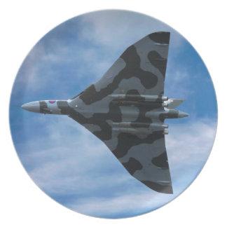 Vulcan bomber in flight dinner plate