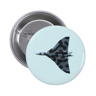 Vulcan bomber in flight pinback button