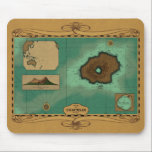 """Vulcania Chart - Nemo Version Mouse Pad<br><div class=""""desc"""">This is a chart (nautical map) of Captain Nemo&#39;s island base, Vulcania. This version is styled to represent the chart as it might have appeared as used in the chartroom of the Nautilus. The proportions of the island are true to those of the Peter Ellenshaw matte painting used in the...</div>"""