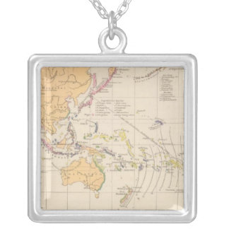 Vulkane, Koralleninseln Atlas Map Square Pendant Necklace