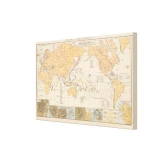 Vulkane, mapa del atlas de Koralleninseln Lienzo Envuelto Para Galerias