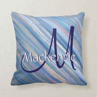 Vulnerable Decor | Monogram Chic Blue Peach Silver Throw Pillow
